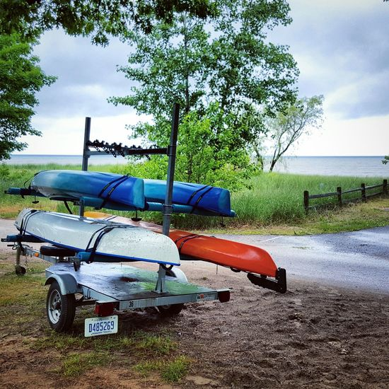 Beach Day Sea Nature Tree No People Water Outdoors Sky Grass Kayak Kayaking Greatlakes Boat Boats Michigan, USA