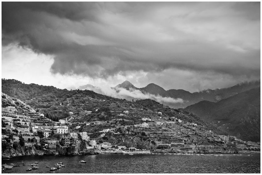 Amalfi Coast Minori Architecture Beauty In Nature Black And White Blackandwhite Building Exterior Built Structure Cloud - Sky Day Mountain Mountain Range Nature No People Scenics - Nature Sea Sky Water Waterfront