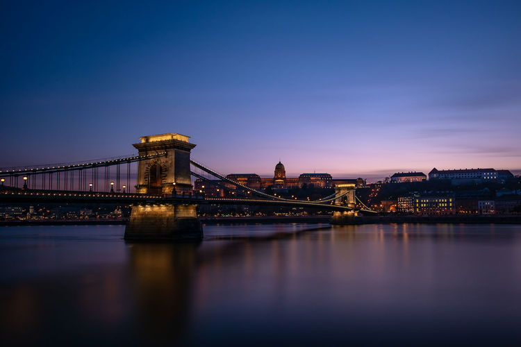 Copy Space Architecture Reflection River Water Sunset Nature City Evening Hungary Sky Dusk Bridge Outdoors Illuminated Cityscape Budapest Connection No People Travel Destinations Building Exterior Built Structure Bridge - Man Made Structure Waterfront Chain Bridge