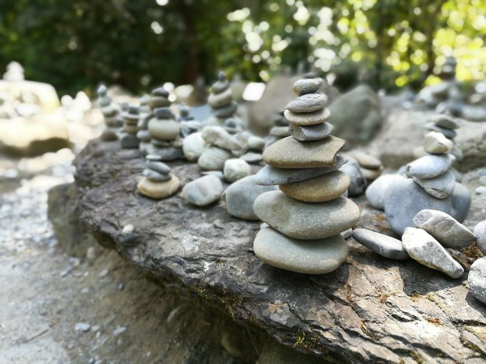 Water Stack Balance Zen-like Pebble Nature Rock - Object Day Focus On Foreground Large Group Of Objects Outdoors No People Close-up Tranquility