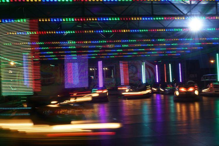 Blurred bumper cars
