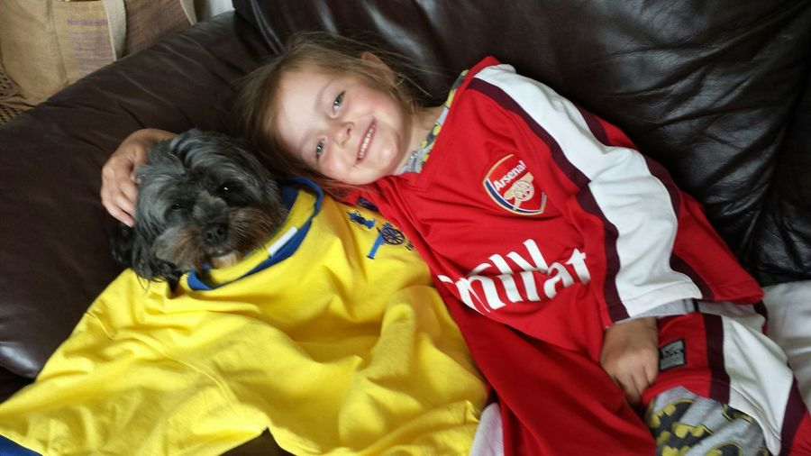 Not the best bit of photography ever but a special moment from an awesome day. FA Cup Final ARSENAL FC Winners My Beautiful Daughter My Dog Messing Around Dressing Up Wearing Daddys Football Top Watching Football