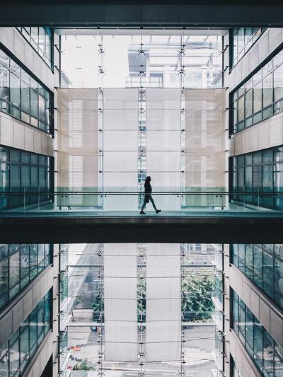 Man in modern office building