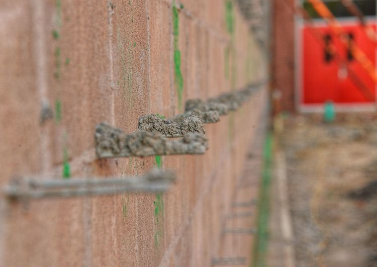 Close-up of wall at construction site