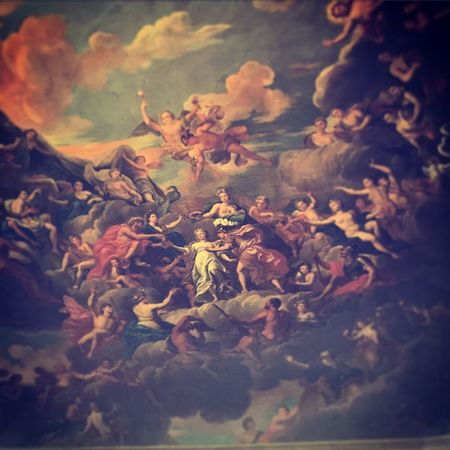 The 17th century mural ceiling of the staircase at Petworth House. Petworth Petworth House Petworth Park West Sussex Baroque Architecture Mural Staircase Country House England, UK Mansion National Trust English Country House House & Park Art ArtWork Painting South Downs National Park Summertime