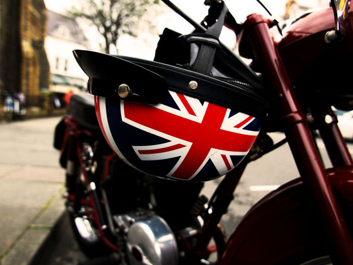 Best of British Transportation Mode Of Transportation Land Vehicle Patriotism Flag Focus On Foreground Incidental People City Red Close-up Motorcycle Day Street Independence Outdoors Union Jack British Flag Vintage Motorcycle