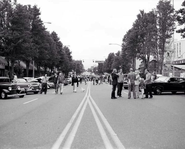 West Seattle car show. Image shot with Mamiya RB67 and Fuji Neopan 100. Urban Geometry Streetphotography Medium Format
