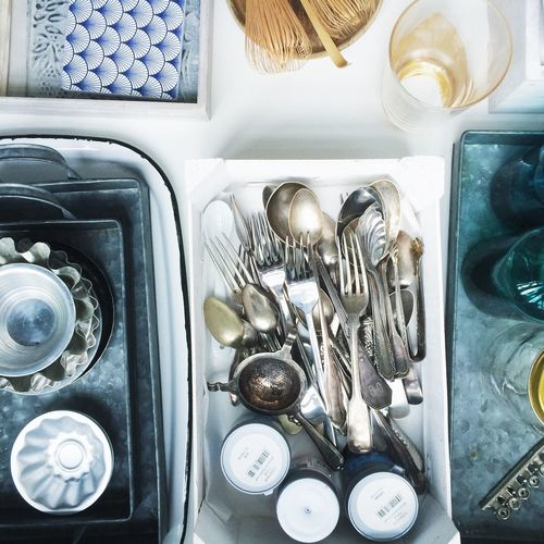 High angle view of cutlery on table