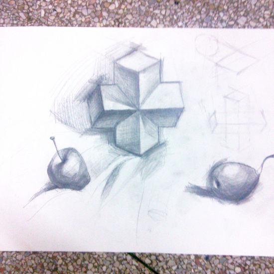 Drawing 初次学习素描「老师的苹果,我的梨 这就是专业非专业的区别 T T」