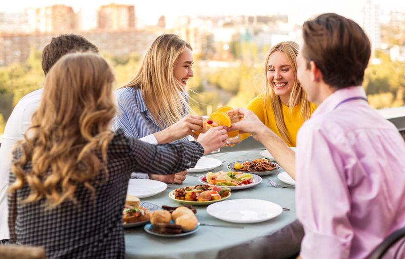 Group of people having food