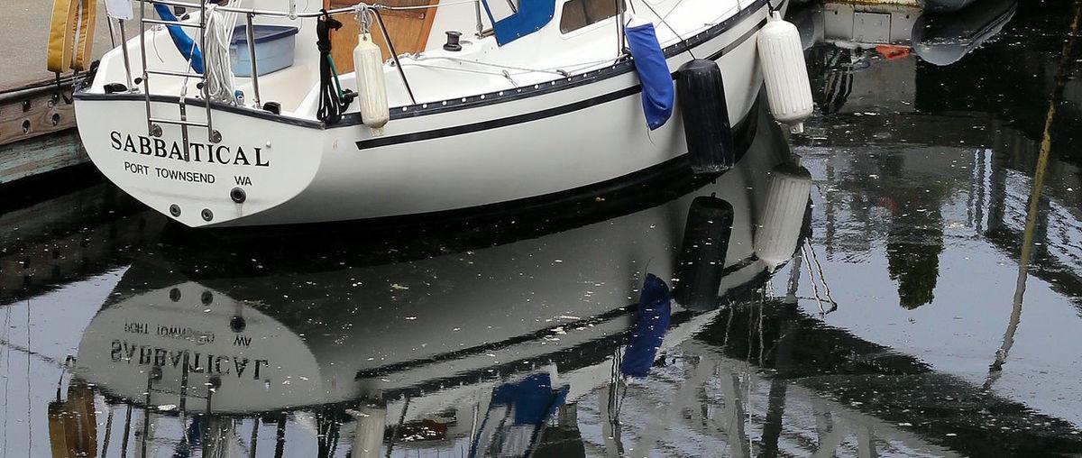sabbatical Boat Docked Harbor Moored Nautical Vessel Reflection Sabbatical Sailboat Travel Vacation