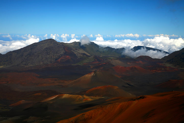 View of volcanic landscape against sky