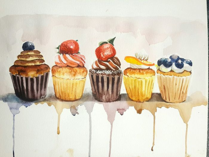 😋 i want to eat them…😓tell me what i should do~ Cake Cupcakes Drawing Watercolor Relaxing Time Enjoying Life Today Was A Good Day Looksgood