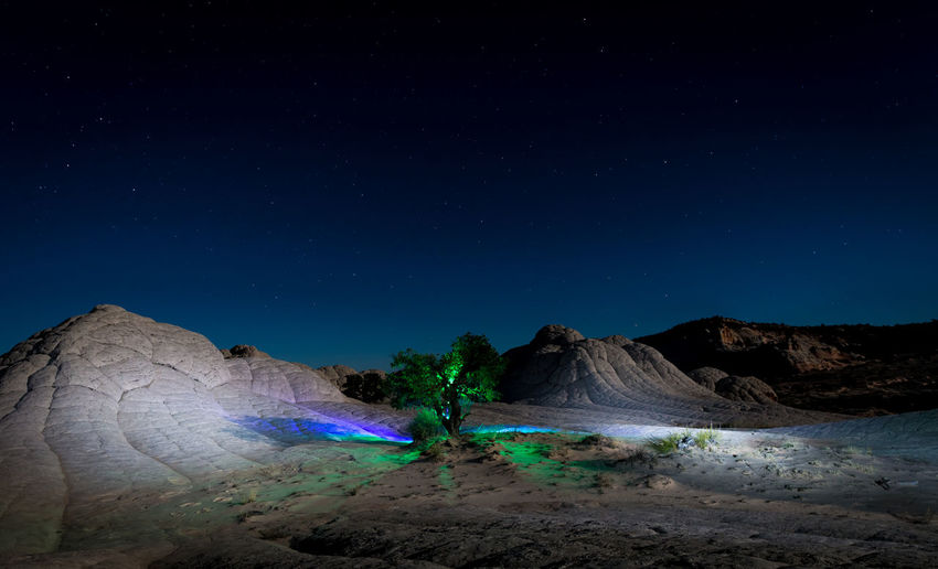 Scenic view of landscape at night