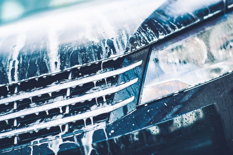 Car Foaming Closeup. Car Active Foam Cleaning Theme. Pressure Washer Washing Foam Foaming Cleaning Clean Vehicle Car Wash Water Car Transportation Motor Vehicle Auto