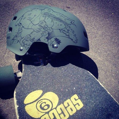 Some cruising Longboard Longboarding Helmet Skateboard Skateboarding Skatelife Skate Sk8 Longboardlife Sector9 Sector9deck Deck Wheels Crocodilehelmet Cruising Longboardslide