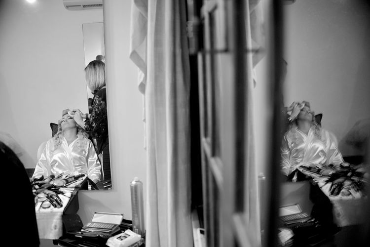 EyeEm Best Shots Eye4photography  Getting Inspired Makeup Beauty Woman Wedding Photography Wedding Wedding Day Getting Ready Black And White Monochrome Reflection Real People People Adult Indoors  Two People Side View Window