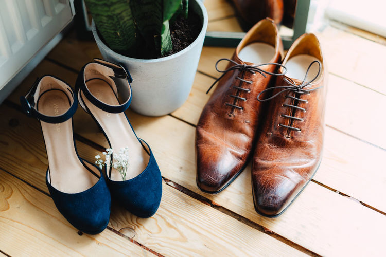 High angle view of shoes on table