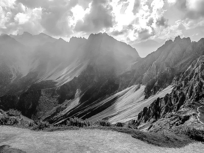 Alps in Black and White EyeEm Best Shots EyeEm Nature Lover EyeEmBestPics EyeEm Best Shots - Nature Blackandwhite EyeEm Best Shots - Black + White EyeEm Selects Nature Mountain Tranquility Beauty In Nature Scenics Tranquil Scene Sky Cloud - Sky Outdoors Mountain Range Landscape No People Day Tree