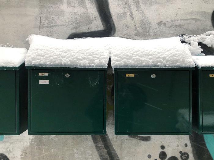 Close-up of mailbox on snow