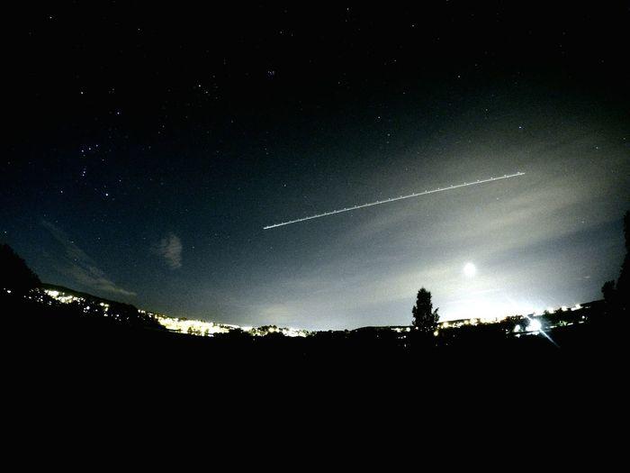 Night sky over us. Norway Lillestrøm Nightphotography Stars Plain Full Moon