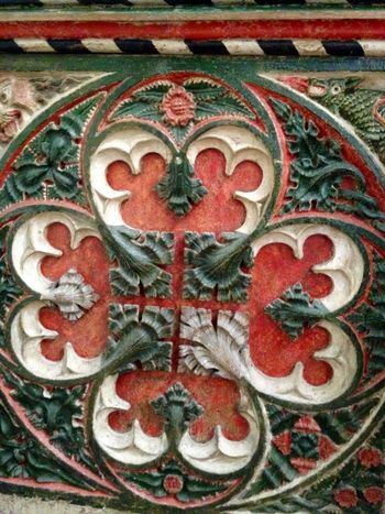 Remains (base section) of Medieval rood screen. Amusing Angels & Demons Art And Craft Carved Wood Church Creativity Ecclesiastic History Medieval Painted Painted Wood Red,white And Green Relic From The Past Religious  Rood Screen Wood - Material