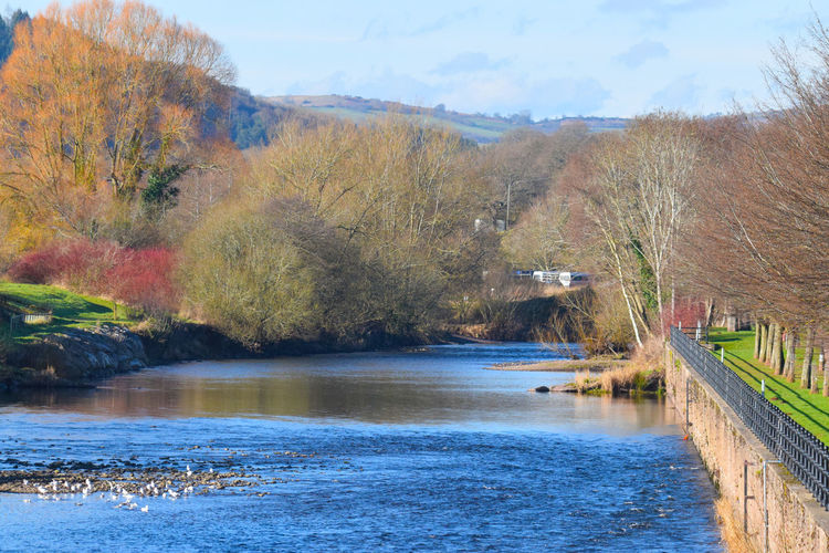 River Usk Riverusk Architecture Autumn Beauty In Nature Built Structure Change Day Landscape Mountain Nature No People Outdoors River Riverusk Scenics Sky Tranquil Scene Tranquility Tree Water