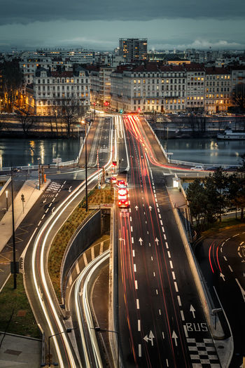 France Lyon Architecture Bridge - Man Made Structure Canon Canon_photos Canonphotography City Cityscape Europe High Angle View High Street Illuminated Light Trail Long Exposure Motion Night Road Rush Hour Speed Street Light Traffic Transportation Urban Urban Skyline