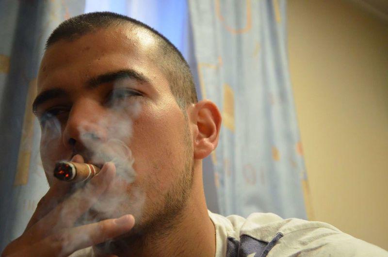 MonteCristo  Cigars Human Face Portrait Headshot Only Men Smoke Enjoying Life Model Modeling