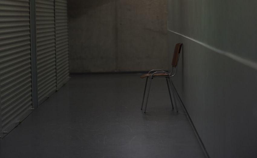 empty Absence Indoors  Empty Seat No People Chair Wall - Building Feature Flooring Wall Architecture Domestic Room Metal Furniture Home Interior Building Built Structure Still Life Corridor Arcade Tiled Floor