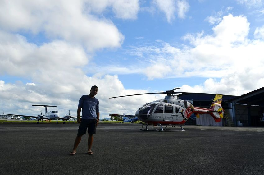 Capturing memory at the helicopter hanger. Sarawak Helicopter Outdoor Cloud - Sky