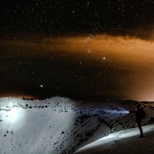 Scenic view of snow covered landscape at night