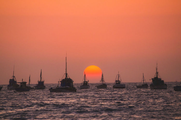 Silhouette of sailboats in sea during sunset