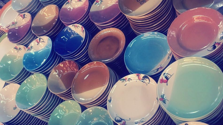 Plate of white ceramic for a lot of food. Available at Chatuchak Weekend Market in Thailand. Plate Clear Food A Bowl Of Soup Close-up Day Fluorescent High Angle View Indoor Indoors  Multi Colored No People Overlap Seramic Sunlight ☀ Sweet Food