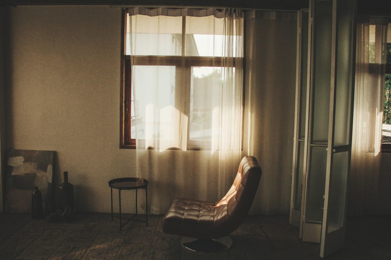 seat, chair, window, indoors, curtain
