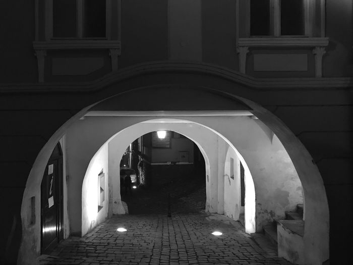 Sighişoara citadel Arch Brick Road EyeEm Selects Arch Indoors  The Way Forward Architecture Illuminated Built Structure No People Day