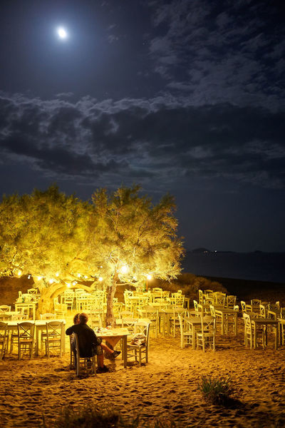 Naxos Night Sky Night Seat Illuminated Tree Moon Chair Cloud - Sky Nature Real People Sitting Table Plant Outdoors Beauty In Nature Leisure Activity Lighting Equipment Lifestyles Land People Full Moon Moonlight Naxos, Greece Nightphotography