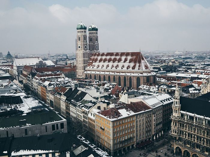Frauenkirche, Munich, Germany. Snow Snow City Winterscapes Winter Church Church Architecture Church Tower Frauenkirche Munich München Architecture Bavaria Bavarian Architecture Bavarian City City Cityscape Skyscraper Building Exterior Outdoors Architecture No People Urban Skyline
