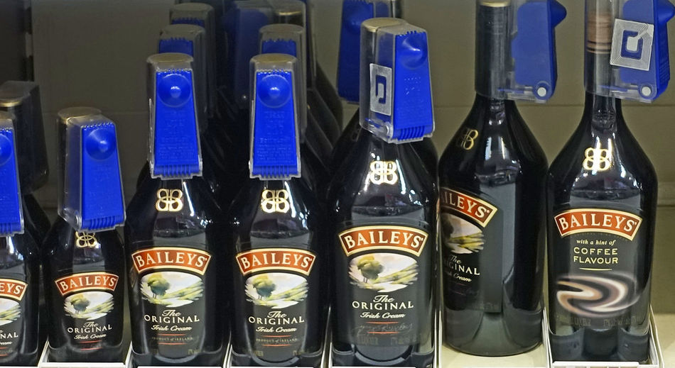 Baileys Bottles For Sale Close-up Coffee Liqueur Day In A Row Indoors  No People Security Tags Text Uk Supermarket Wines And Spirits