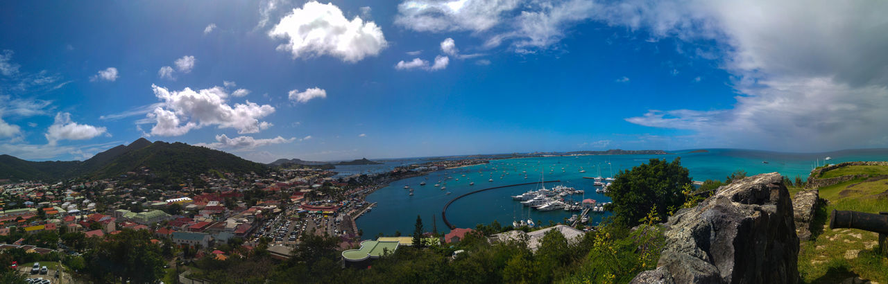A beautiful panoramic photo taken from a lookout in Sint Barths, this photo is of a very high quality and is a very stunning piece Beach Beautiful Blue Water Blue Sky Panoramic Quality Sint Barths Vibrant View