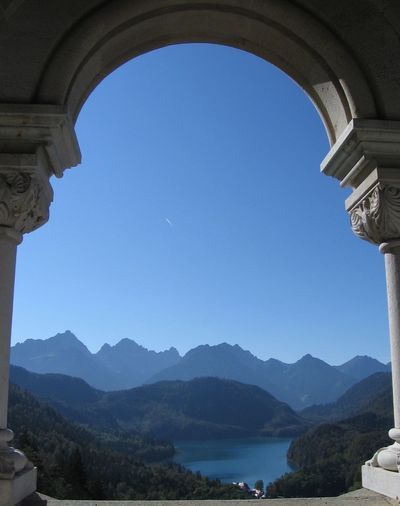 Scenic view of mountains against sky seen from neuschwanstein castle