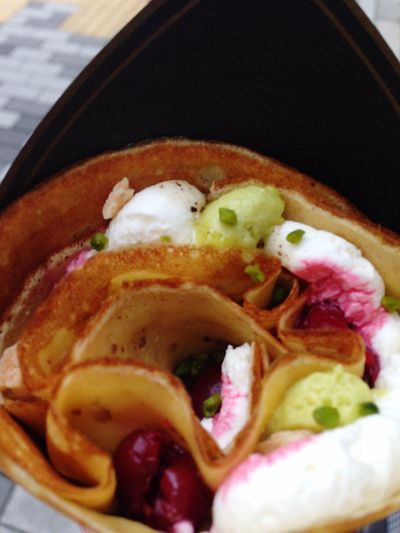 Hi! Yummy Fromage Tasty Hungry Pistachio Crêpes Mascarpone  Cherry Dessert
