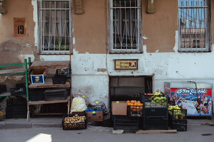 Grocery Shopping Tbilisi Fruits Fruitshop Greengrocery Icecream No People Old Tbilisi Selling Shop Vegetable Vegetables