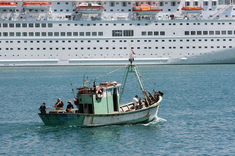 Cruise Ship Ship Fisherboat Small And Big David And Goliath Day Nautical Vessel Outdoors Sea Travel Water