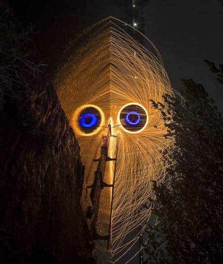 the Mask. Night Steelwoolphotography Long Exposure Nightshot Lightpainting Fire Fireworks Longexposure Outdoors No People Indoors  Illuminated Technology Close-up Night Astronomy