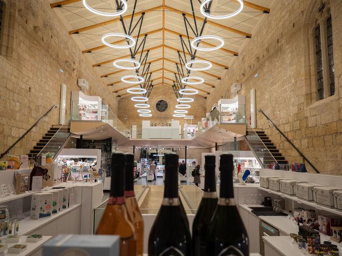 Interior of market stall