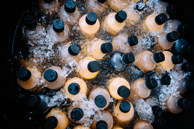 Directly above shot of cold drinks in container