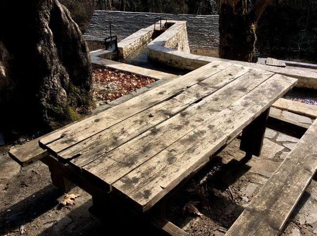 Winter Nature Trees Table Wooden Table Lanscape Winter Colors Zagoroxoria,greece