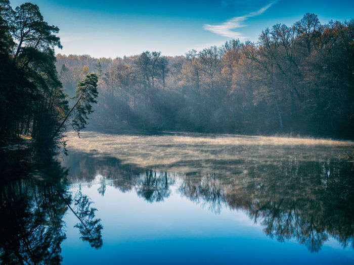 Lonely lake in the morning light with mist over the reflecting water