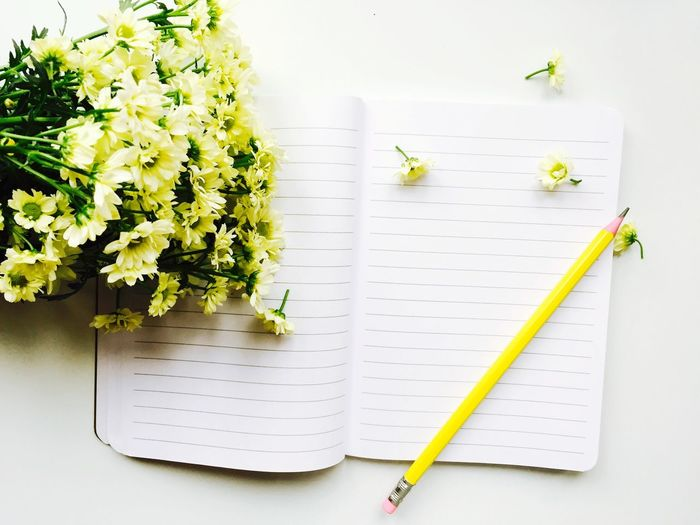 High angle view of flowers and notebook on table